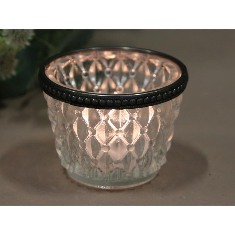 Teelichthalter mit Perlenkante