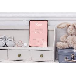 Kleines Personalisierbares Vintage Geburtsschild rosa