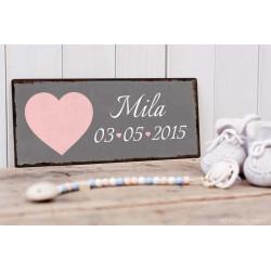 Personalisierbares Vintage Geburtsschild grau/rosa
