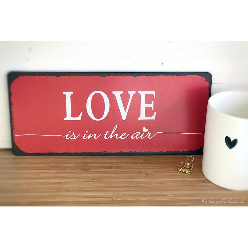 "Metallschild ""Love is in the air"""