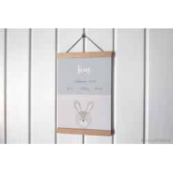 "Personalisierbares Poster ""Animaux Geburt"" pastellgrau"