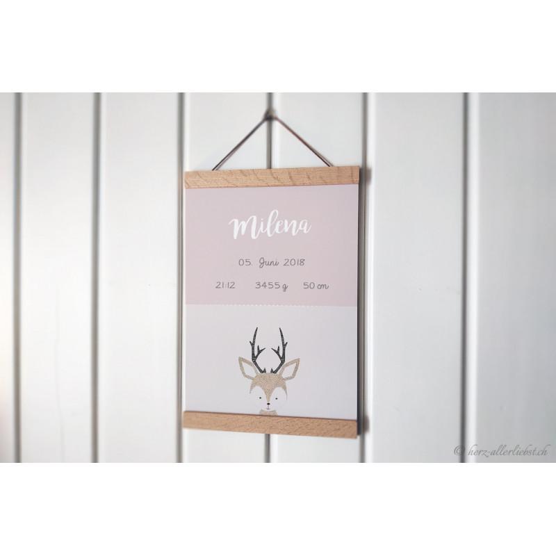 "Personalisierbares Poster ""Animaux Geburt"" pastellrosa"