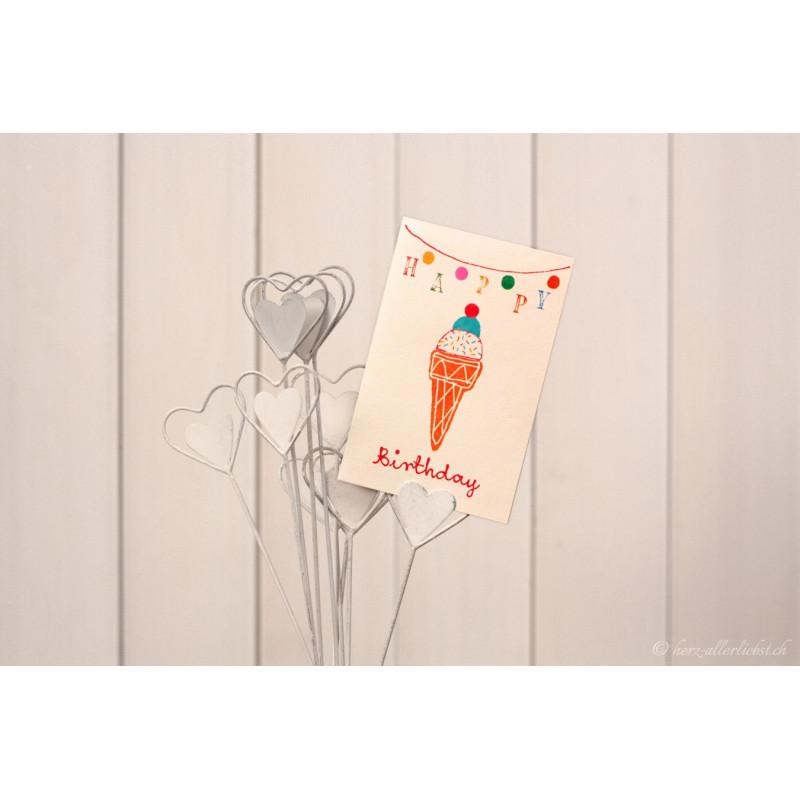 "Karte ""Happy Birthday"" Glace"