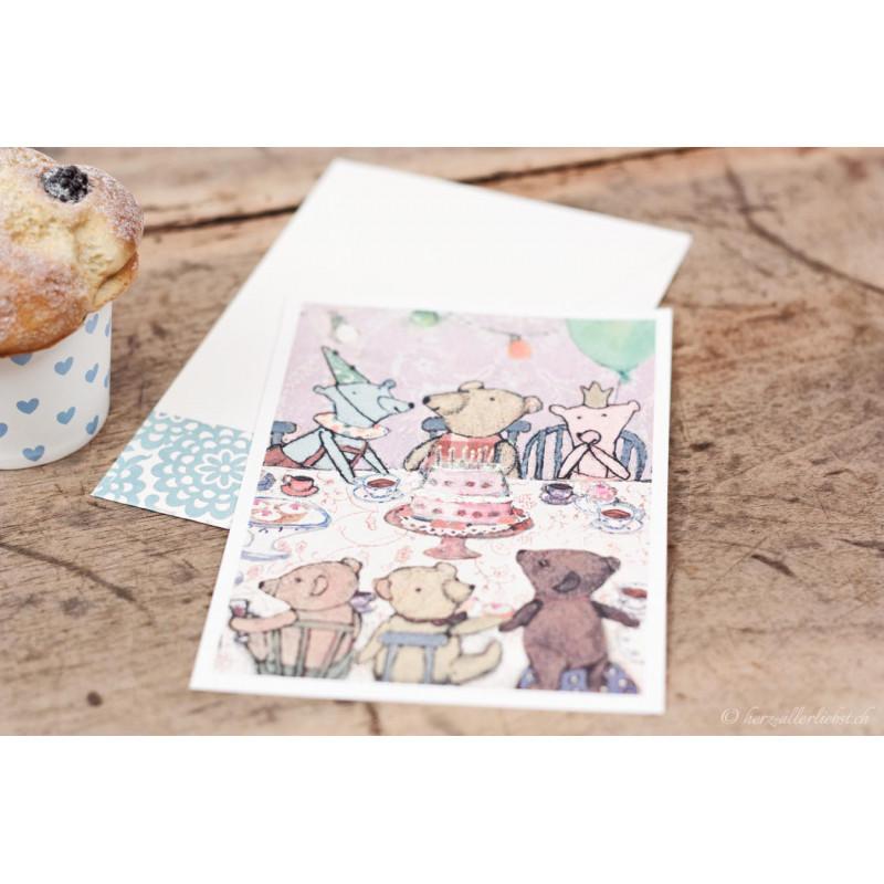 "Karte ""Teddys Geburtstagsparty"" lavendel"