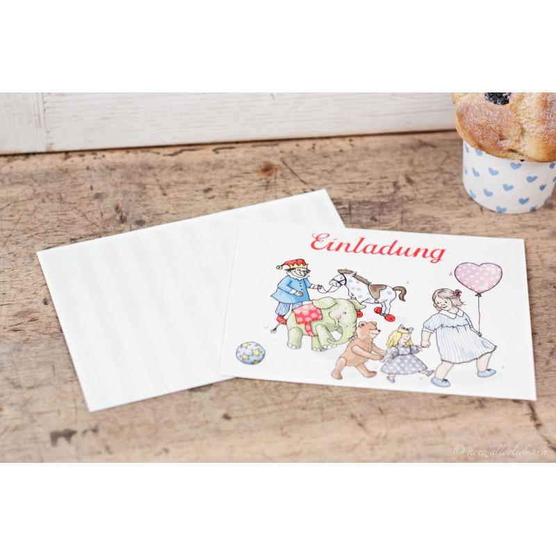 """Kindergeburtstagseinladungkarten """"Spielzeug"""""""